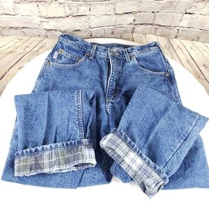 Man's flannel lined Carhart jeans